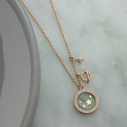 STARS AND PLANETS ROSE GOLD NECKLACE