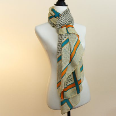 GEOMETRIC BORDERS SCARF ORANGE