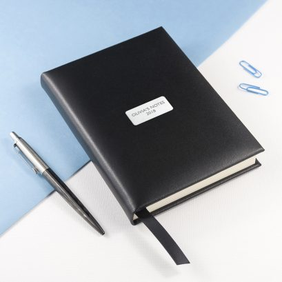Personalised Black Leather Notebook Per3074 San