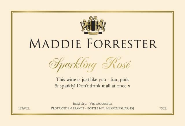 Personalised Sparkling Rose Wine