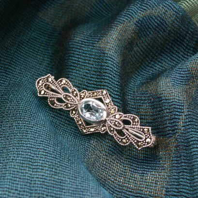 BLUE TOPAZ & MARCASITE BROOCH
