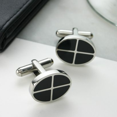BLACK ENAMEL CUFFLINKS