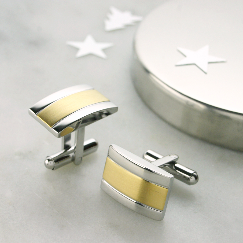 Two Tone Cufflinks, Gift For A Man Uk