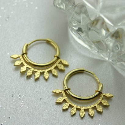 LEAF HOOP EARRINGS GOLD PLATED