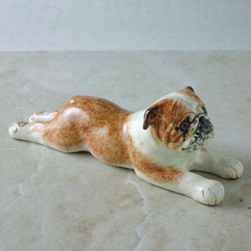 Lying Down Bulldog Figure, Pottery Bulldog Figure