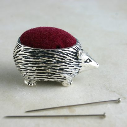 Silver Pin Cushion Hedgehog Design. Sewing Accessory