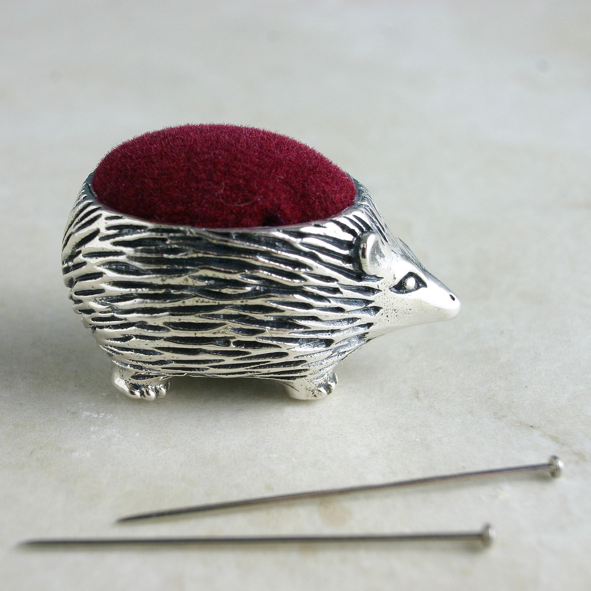 Silver Pin Cushion Hedgehog Design. Sewing Accessory