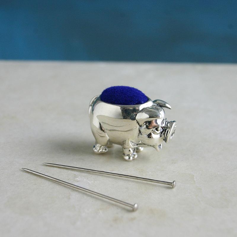 Silver Pig Pin Cushion, Sewing Enthusiasts