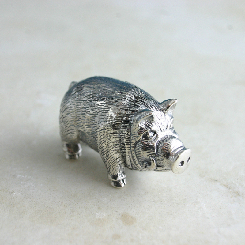 Sterling Silver Miniature Hog, Gift For Collectors