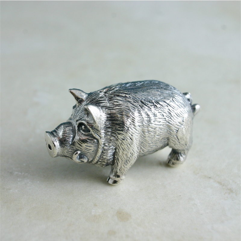 Sterling Silver Hog, Silver Miniature Hog, Collectors Silver Miniature