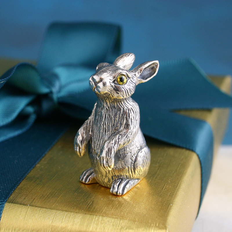 Silver Rabbit Model. Silver Rabbit Ornament. Silver Gift For Her