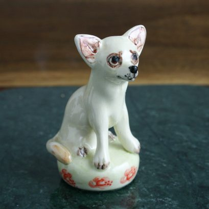 Chihuahua Dog Figure, Pottery Figure Of A Chihuahua