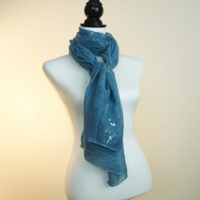 Teal Blue And Silver Scarf. Long Teal Blue Scarf, Summer Scarf