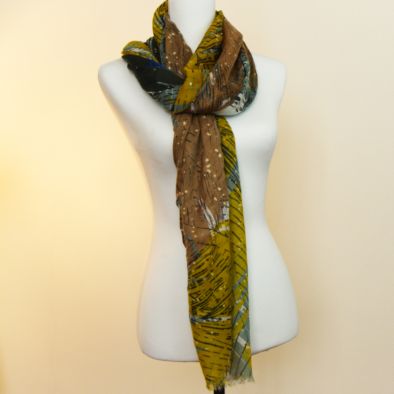 Gift Boxed Abstract Scarf Earthy Tone Scarf